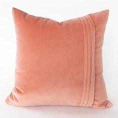 Shonda coral velvet pillow by Tonic Living Pink Velvet Pillow, Cotton Velvet, Velvet Pillows, Velvet Chairs, Coral Throw Pillows, Modern Throw Pillows, Handmade Pillows, Decorative Pillows, Do It Yourself Home