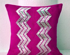Amore Beaute Handcrafted Fuchsia Burlap Pillow Cover with Silver Sequin Embroidery in Chevron Pattern - Decorative Cushion Cover- Throw Pillows Chevron Crafts, Geometric Pillow, Chevron Pillow, Sequin Pillow, Burlap Pillows, Silver Sequin, Silver Beads, Decoration, Decorative Throw Pillows