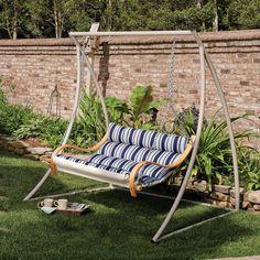 Deluxe Cushioned Double Swing Hamptons Summer Stripe by Hatteras Hammocks