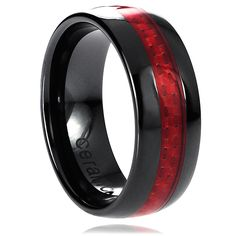 Vance Co. Ceramic Red Carbon Fiber Inlay Band (8 mm) | Overstock.com Shopping - The Best Deals on Men's Rings