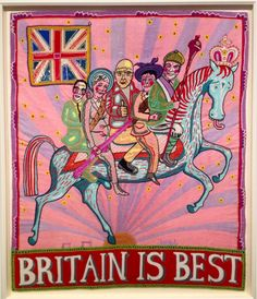'Britain is Best' (2014) hand embroidery by Grayson Perry at his exhibition 'My Pretty Little Art Career' at the MCA, Sydney.
