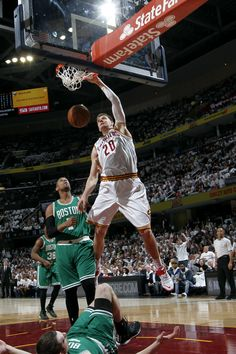 Timofey Mozgov in Poster Production mode during Game 2 of #CAVSvCELTICS.