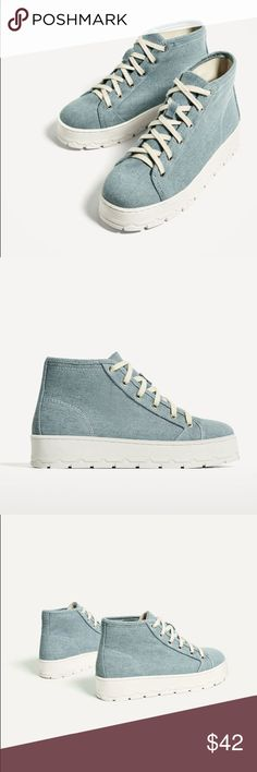 Zara blue fabric platform ankle boots Perfect street wear shoes...sole height 1.4 inches... euro size 36(6), 41(10) Zara Shoes