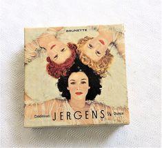 1940s Vintage Jergens Face Powder Brunette Vintage Vanity, Face Powder, 1940s, Vintage Fashion, Image, Art, Art Background, Fashion Vintage, Kunst