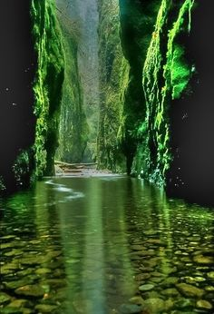 Emerald Gorge, Columbia River Gorge - on our way from Portland to Skamania - a must see<--- Gorgeous!