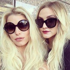 cf80e333de Jessica Simpson and Ashley Simpson wearing designer sunglasses Jessica  Simpson Sister