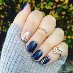 Perfect Navy and Gold mani! Jamberry's Stellar, Metallic Gold Stripe, and Beta Trushine Enamel Gel. Find them all at lmichshelton.jamberry.com