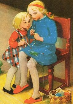 Martta WEndelin Girl Knitting | by pstcrdldy