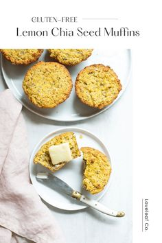 LEMON CHIA SEED MUFFINS | Easy paleo lemon chia seed muffins! Made with a coconut flour, eggs, chia seeds, and lots of lemon. Fluffy, gluten-free, and full of flavor. | LOVELEAF CO. #lemonmuffins #paleomuffins #loveleafco Healthy Muffin Recipes, Healthy Snacks, Snack Recipes, Gf Recipes, Lemon Muffins, Grass Fed Butter, Chia Seeds, Other Recipes, Plant Based Breakfast