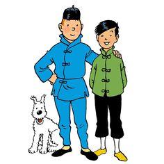 1978 ☀ TCHANG et TINTIN, la fidélité et l'amitié • Tchang and Tintin, loyalty and friendship. Dessin pour un cahier d'écolier offert par les chocolats Côte d'Or.