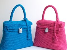 Crochet Kelly bag pink handmade purse with the style by SILAYAYA, $120.00
