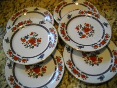 Crown Ming Jian Shiang 6 Piece Salad Dessert Plate Set 7.5 Inches Floral Design | eBay