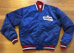 VTG WASHINGTON CAPITALS JACKET Starter L Mens Satin 1980s Hockey USA Rare