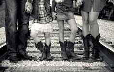 Family Picture Idea with Cowboy Boots - Family Portraits... I like the train tracks in this picture....