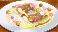 Fish in white Cream Sauce with Mushrooms & Flowers!