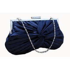 Navy Blue Knotted & Pleated Satin Bridal Wedding Evening Bridesmaid Clutch Purse