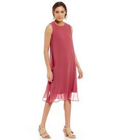 332e676de9d Rosewood Eileen Fisher Sheer-Overlay Silk Jersey Midi Dress Chiffon Fabric
