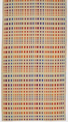 "Richard Landis + Jack Lenor Larsen: designers, Jack Lenor Larsen Inc.: producer   Collection: Concept   double cloth: each layer 2/2 twill   linen + polyester   112"" x 50-3/4""   Switzerland   1973"