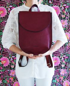 Leather backpack backpack for women burgundy bag half moon