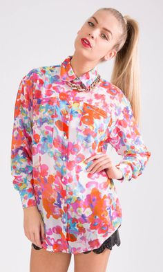 Sheer Floral Oversize Shirts £10.49  http://hiddenfashion.com/new-in/new-in-clothing/semi-sheer-chiffon-floral-oversize-bagg-blouses.html