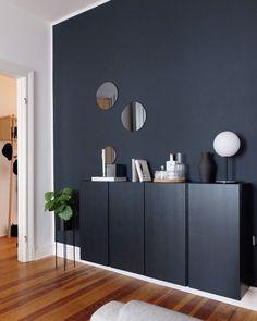 Farrow and Ball Railings walls with warm wood floor, my pick! Mirrored Furniture, Ikea Furniture, Ikea Units, Office Interiors, Interior Inspiration, Living Room Decor, Sweet Home, Flooring, Interior Design