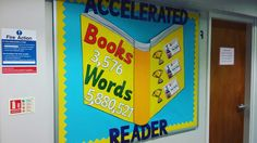 Accelerated reader display board. Photos of awards assembly to be added. Total number of words and books read as a school. 3 top awards - 100% quiz passrate, most progress and highest number of words read.