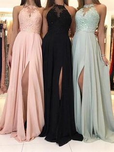 Cheap Long Bridesmaid Dresses Lace Top Chiffon Formal Dress with Slit