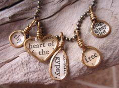 brass wire charms necklace jewelry resin bezel by MySistersArt