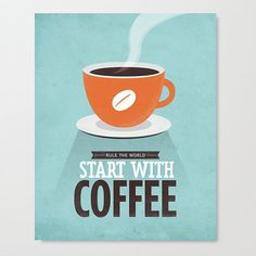 Coffee quote wall decor Stretched Canvas Archival by NeueGraphic