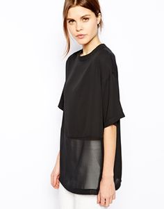 Image 1 ofASOS Sheer and Solid Longline T-Shirt