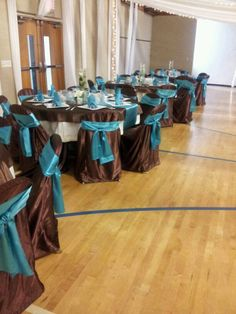 Superbe Chocolate Universal Chair Covers, Satin Turquoise Runners, Chocolate  Overlay, Turquoise Napkins And A