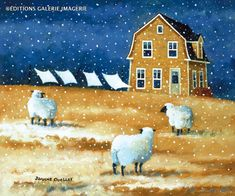 Canada ~ Wind ~ by Joanne Ouellet by linda Sheep Paintings, Animal Paintings, Folk Art Paintings, Art Journal Inspiration, Painting Inspiration, Sheep Art, Autumn Scenes, Chicken Art, Naive Art