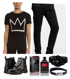 """Black / men's wear"" by hinokodaily ❤ liked on Polyvore featuring ElevenParis, Express, Dr. Martens, Giorgio Armani, Givenchy, MIANSAI, men's fashion and menswear"