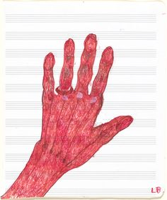 "Louise Bourgeois, My Hand, 1997, pen and ink – from the exhibition ""No Exit"" (National Gallery of Art, Washington)"
