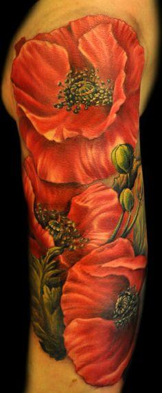 Poppy flower tattoo - love the stamen detail