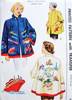 1950 Fabulous Travel Theme Applique Embroidery Swing Jacket Coat McCall 1565 Whimsical Felt Jacket Bust 32 Vintage Sewing Pattern UNCUT