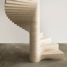 Wooden Spiral staircase by Risa Meyer.  Norwegian architect Tron Meyer has designed a spiral staircase made entirely from laminated wood carved into curving steps that optimise the space for walking on.  Risa can be specified in pine, spruce, ash and oak and is assembled on site. http://www.dezeen.com/2014/09/14/tron-meyer-risa-spiral-staircase-fanning-timber-steps/