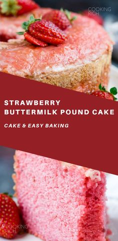 Melt in your Mouth Strawberry Buttermilk Pound Cake is simply amazing. The intense strawberry flavor and ultra-moist cake make a winning combination. Healthy Cake Recipes, Pound Cake Recipes, Baking Recipes, Dessert Recipes, Baking Desserts, Cake Baking, Pound Cakes, Cheesecakes, Just Desserts