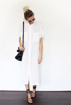 The white shirtdress with all white accessories.