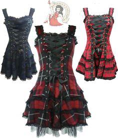 HELL BUNNY HARLEY TARTAN goth MINI DRESS punk  #HellBunny #Goth #Party