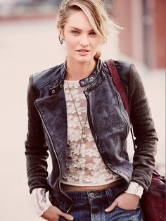 Candice Swanepoel is bohemian chic for Free People 2014 Catalog Outfit Chic, Free People Jacket, Free People Leather Jacket, Vegan Leather Jacket, Leather Jackets, Vegan Fashion, Moto Jacket, Womens Fashion, Fashion Trends