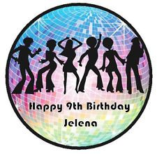 DISCO DANCERS MIRROR BALL PEOPLE EDIBLE WAFER PAPER CAKE TOPPER DECORATION IMAGE