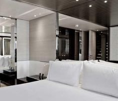 Master bedroom inside the Satory Yacht designed by Remi Tessier