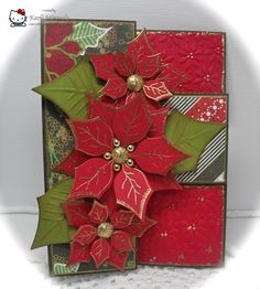 handmade card from Crafting with Class: Patti's Poinsettias ... trifold card ... dry embossing and gold embossing luv the arangement of gold beads in the large poinsettia ... like the use of country greens and red ... luv it!