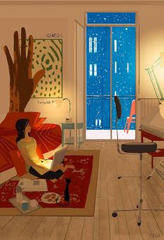 35 Works by American Illustration Artist Themed 'Women Living with Cats' - Frances' Home Art And Illustration, American Illustration, Illustrations And Posters, Pascal Campion, Living With Cats, Buch Design, Anime Comics, Graphic, Chibi