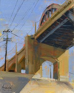 Street Bridge' by Jennifer McChristian. Available at RS Hanna Gallery - 244 West Main Street - Fredericksburg, TX . Urban Life, Urban Art, Cityscape Art, Urban Industrial, Urban Landscape, Landscape Paintings, Art Paintings, Landscapes, Street Art