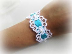 White floral lace bracelet tiffany blue by MalinaCapricciosa