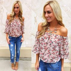 """Say hello to spring florals  NEW """"sheer floral blouse"""" ($24.99), """"favorite boyfriend jeans"""" ($39.99), """"crystal dagger necklace"""" ($14.99) available in store and online at www.sophieandtrey.com! #sophieandtrey #freeshipping #boutique"""
