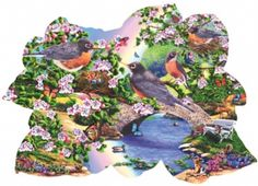 Robins in the Park SunsOut SHAPED 1000 Piece Jigsaw Puzzle Artist Mary Thompson, $18.50
