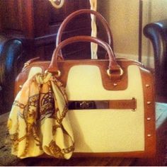 Cream and tan handbag! Barely used cream and tan handbag from Aldo. Can wear it with the scarf tied around it for an extra pop or can easily untie it and use the scarf as an accessory for something else. Perfect condition. NO TRADES! ALDO Bags